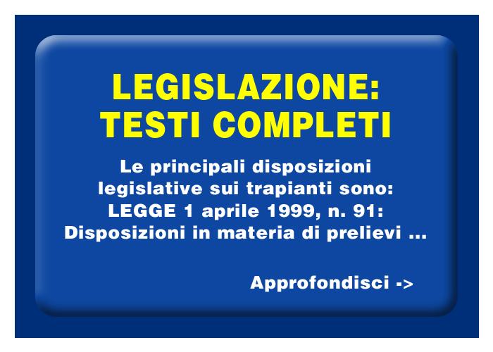 Legislazione Italiana sul trapianto di organi