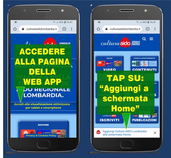 Cultura AIDO Lombardia donazione e trapianto di organi - Installazione Progressive Web APP Android