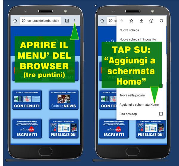 Installazione Progressive Web App Cultura AIDO Lombardia - Donazione di organi